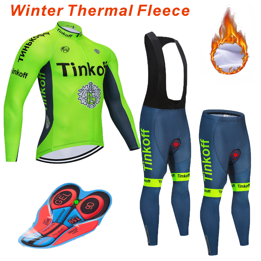 Tinkoff Warm 2019 Winter Thermal Fleece Cycling Clothes NW Men's Jersey Suit Outdoor Riding Bike MTB Clothing Bib Pants Set