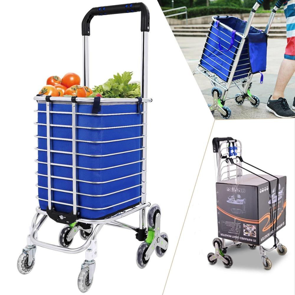 E-FOUR Shopping Cart Portable Utility Carts Folding Trolley Light Weight Stair Climbing With Triangle Crystal Wheel Blue Bag