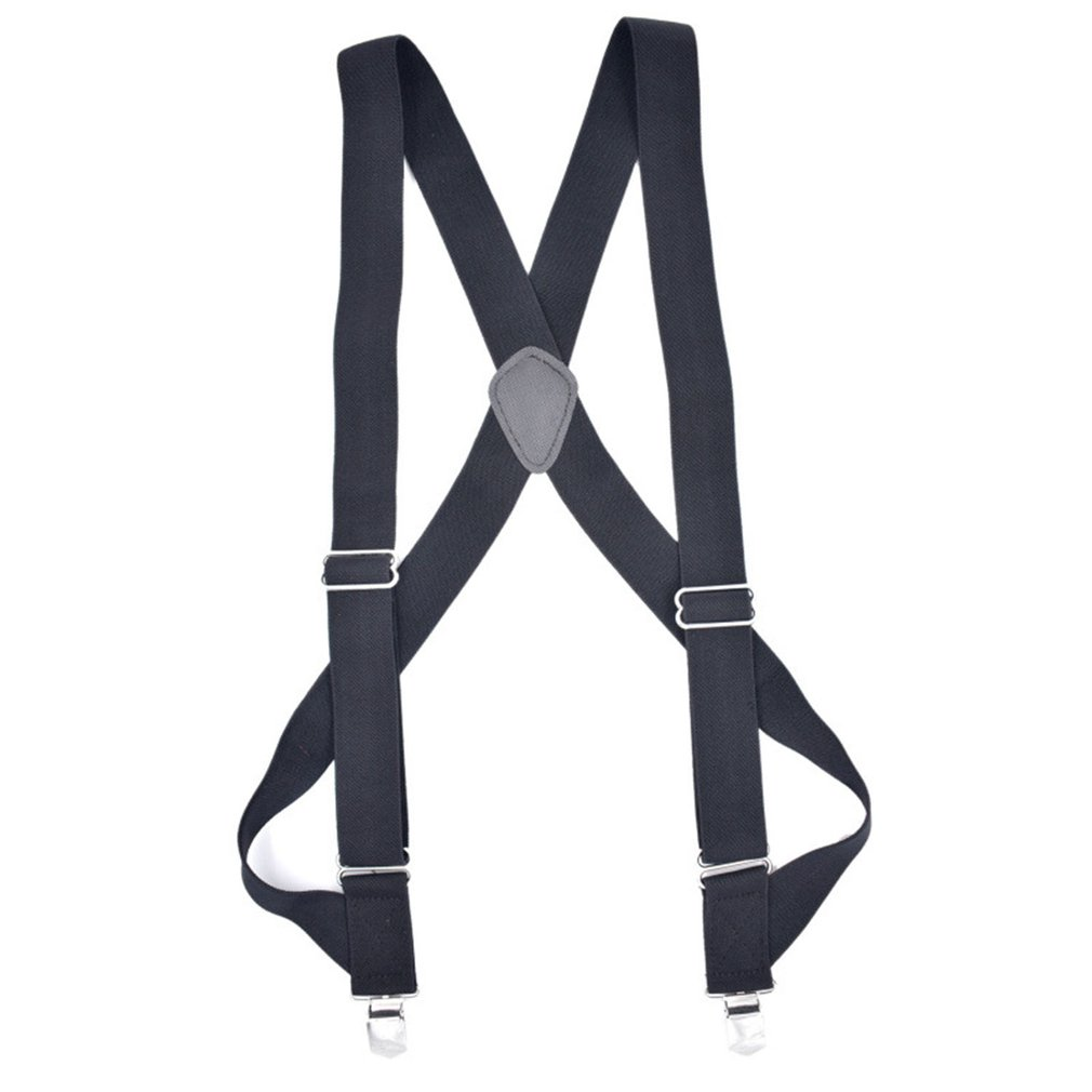 Men's Outdoor Work Strap Polyester Silk With Rubber Band Two Clips Adult Monochrome Casual Pants Suspenders 1 Piece