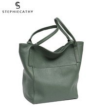 SC Luxury Genuine Leather Tote For Women Brand Design Large Shoulder Bag Bucket Soft Natural Cowhide Female Daily Hobo Crossbody