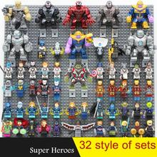 Super Heroes Action Figure Set Marvel Avengers Iron Man Deadpool Venom Spiderman Thanos Batman Building Blocks Figures Toys Gift цена