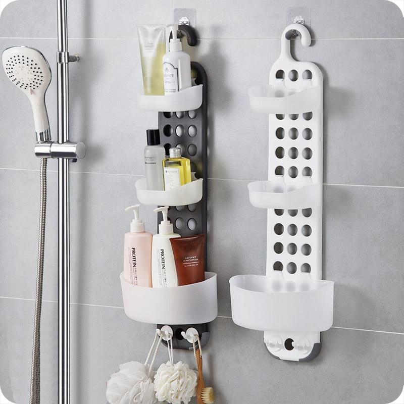 1 шт. ванная комната настенный стеллаж для хранения бесплатно пробивая Душ стойка для раковины угловая полка держатель полки ZP8071410 - 2