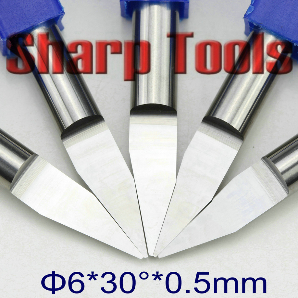 6mm 30 Angle V Shape Flat End Milling Cutter Wood Tools CNC Router PCB Engraving Bits 0.1-0.5mm Tip Carving Carbide Endmill Set