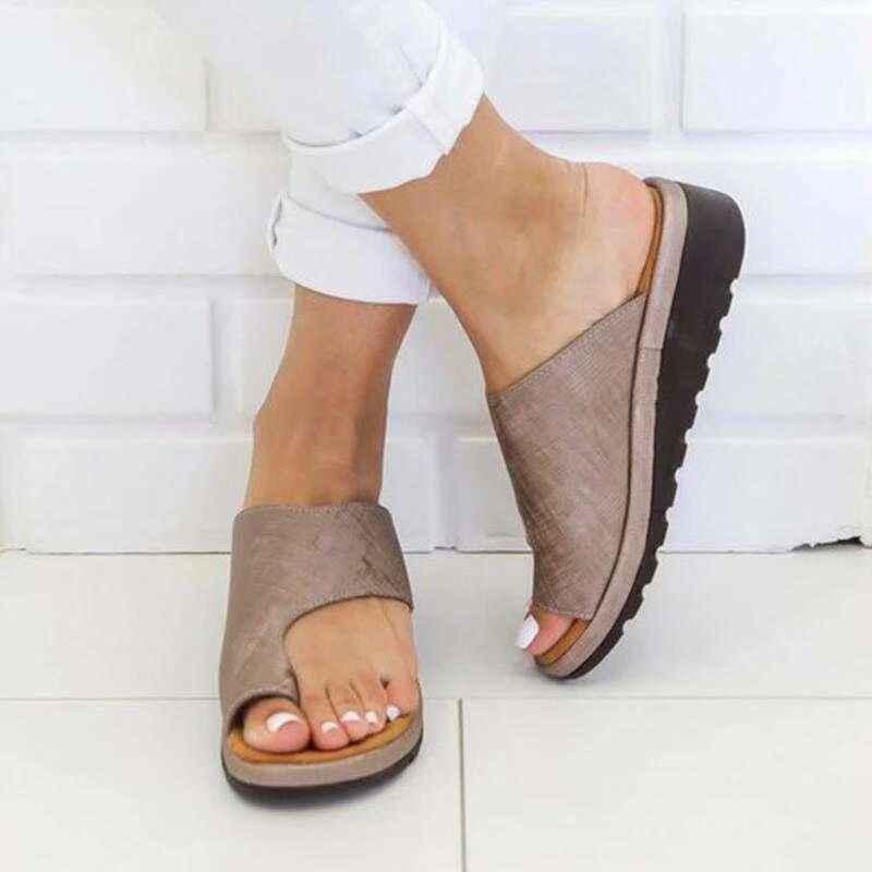 Kadınlar için rahat düz ayakkabı düz platformu bayanlar rahat büyük ayak ayak düzeltme sandalet ortopedik Bunion düzeltici Flip Flop tyu7