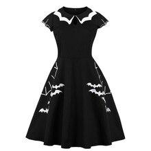 Fashion Women Halloween Dress Elegant Embroidery Bat Printed Vintage Evening Party High-quality Plus Size