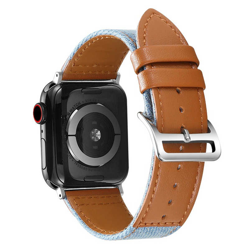 Nueva correa de reloj para Apple Watch 44mm 40mm/42mm 38mm Series 4 3 2 1 iWatch correa de reloj de cuero genuino de lona especial