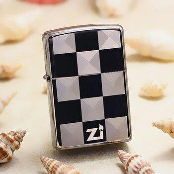 Genuine Zippo oil lighter copper windproof Black ice chess board cigarette Kerosene lighters Gift With anti-counterfeiting code