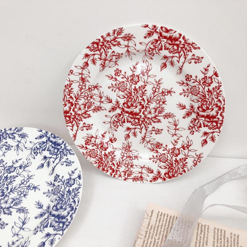 French I retro hand painted blue flower plate ceramic Western food plate household plate cake plate steak dessert fruit plate