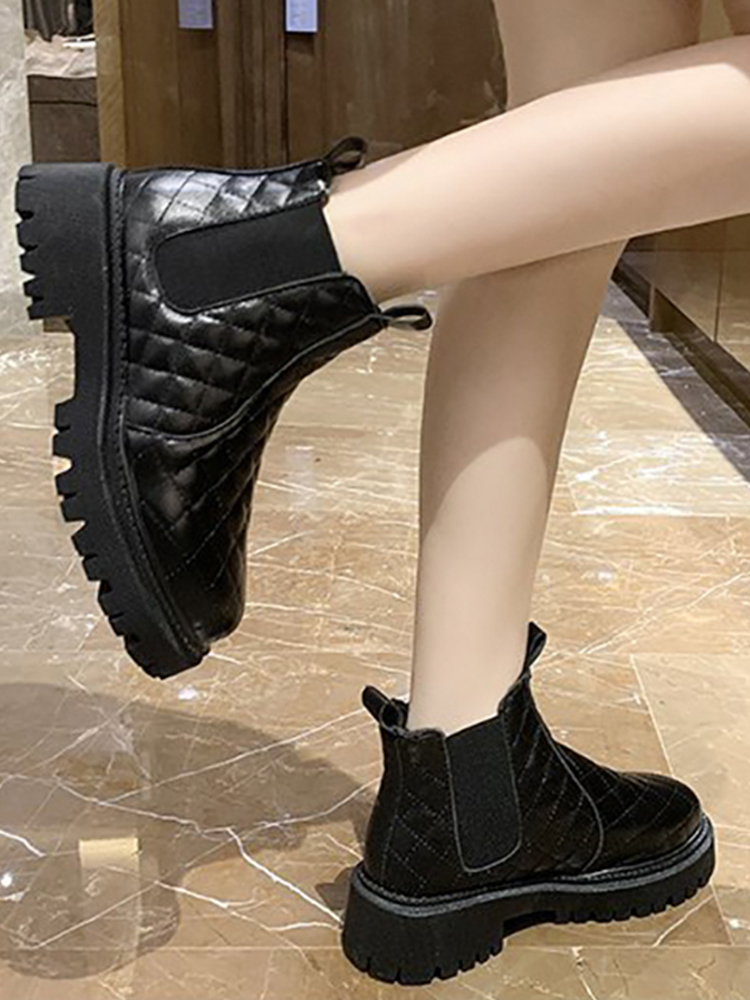 Ankle Boots For Women Black Waterproof Shoes Antiskid Winter Snow Boots With Fur Keep Warm Ladies Shoes Chunky Heel Martin Boots