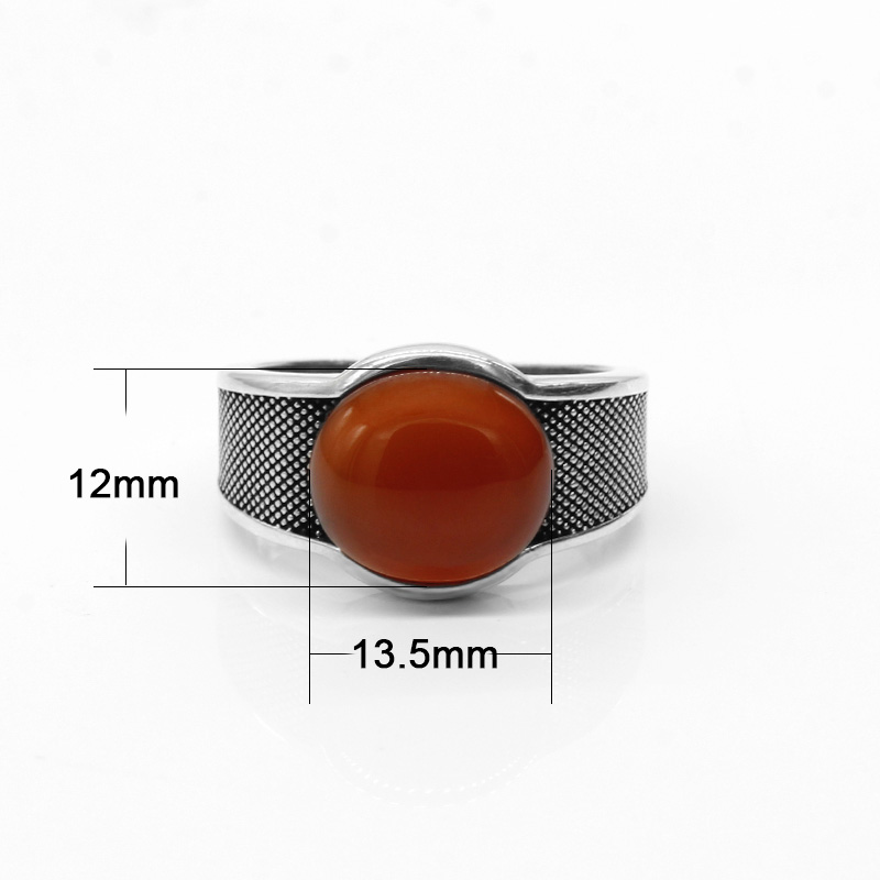 Image 2 - New Natural Onyx Stone Ring For Men Solid 925 Sterling Silver  Thai Silver Red Semi precious Stone Men Ring Turkish JewelryRings   -