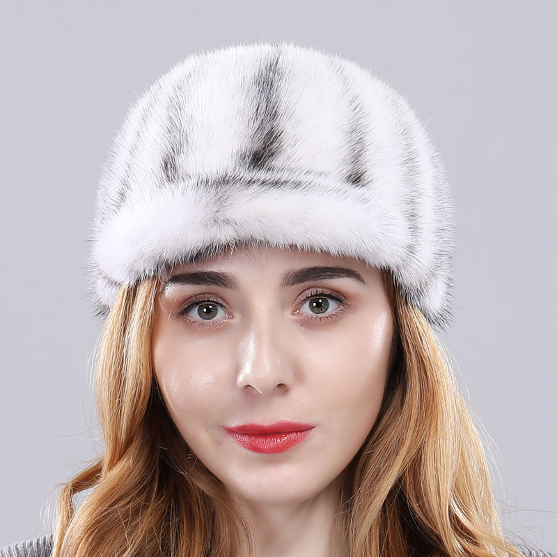 Роскошная женская Норковая меховая шапка зимняя Осенняя модная Натуральная норковая меховая бейсболка Регулируемая брендовая качественная - Цвет: white