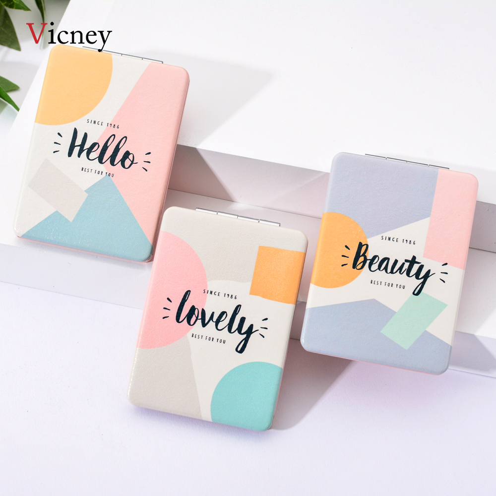 Vicney 2019 New Girl Mini Pocket Makeup Mirror Cosmetic Compact Mirrors Portable Double Dual Sides Cosmetic Makeup Mirrors-in Makeup Mirrors from Beauty & Health