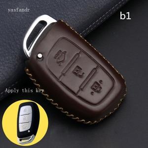Image 4 - Car Key Case Cover Remote For Hyundai IX25 IX35 I20 I30 I40 hb20 Santa Fe Creta Solaris 2017 Genuine Leather 3 Buttons Key Shell