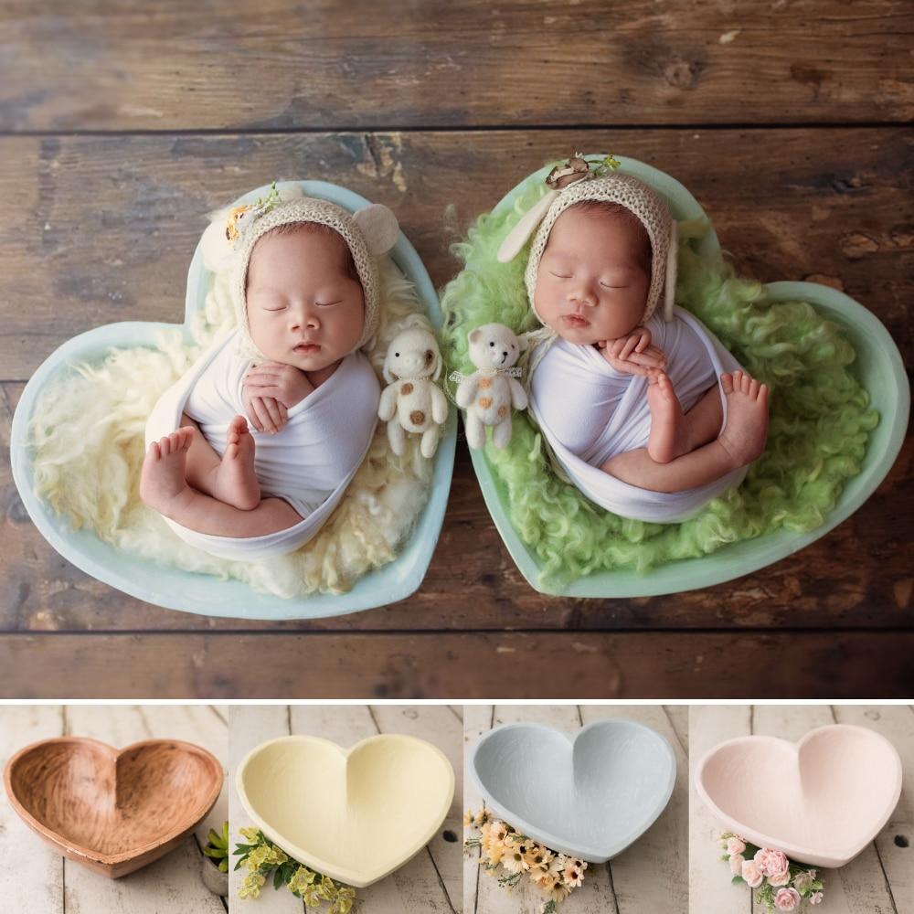 Amour coeur résine posant des paniers pour bébé Photo Shoot accessoires nouveau-né photographie accessoires Photoshoot remplissage panier Fotografia
