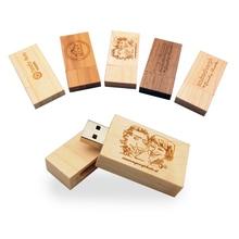 Custom Wooden LOGO Wedding Company Gift Pen drive 4GB 8GB 16GB 32GB Wooden Usb 2.0 Memory Stick Flash PenDrive (10Pcs Free Logo)