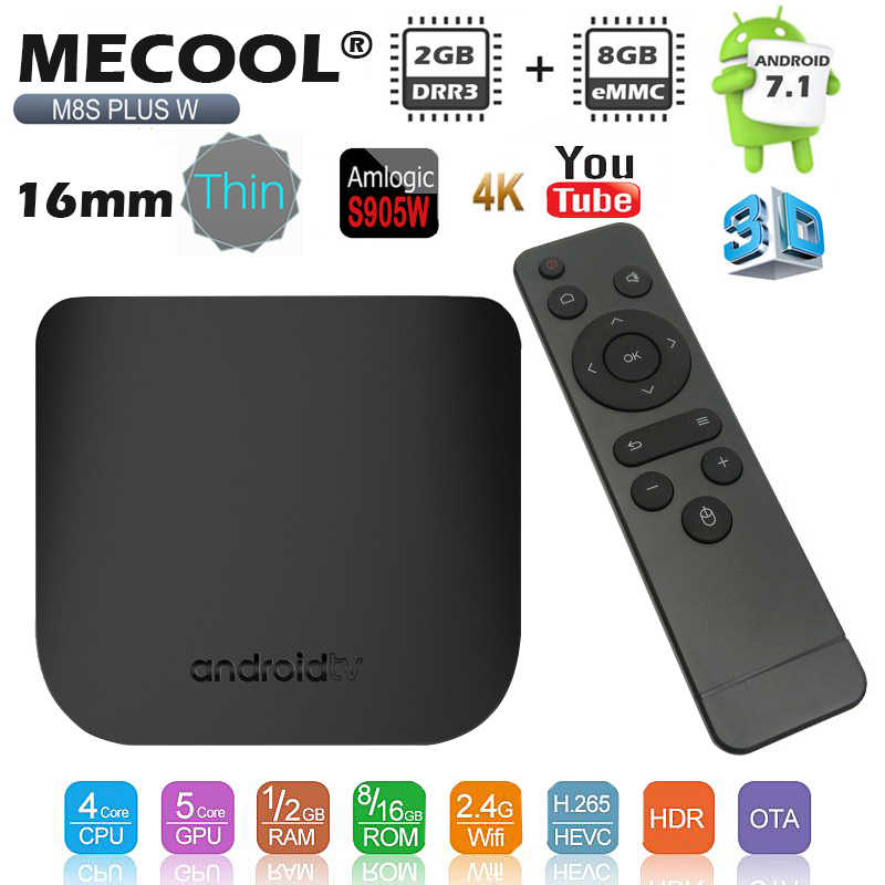 Mecool M8S PLUS W Amlogic S905W TV Box Android 7.1 4K Ultra mince intelligent 2G RAM 16G ROM 2.4G WiFi HD décodeur lecteur Support 3D