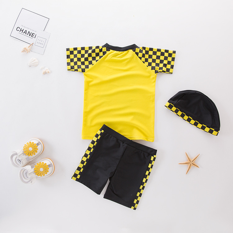 Men's Two-piece Swimsuits Yellow Sai Che Kuan KID'S Swimwear Hot Springs Clothing