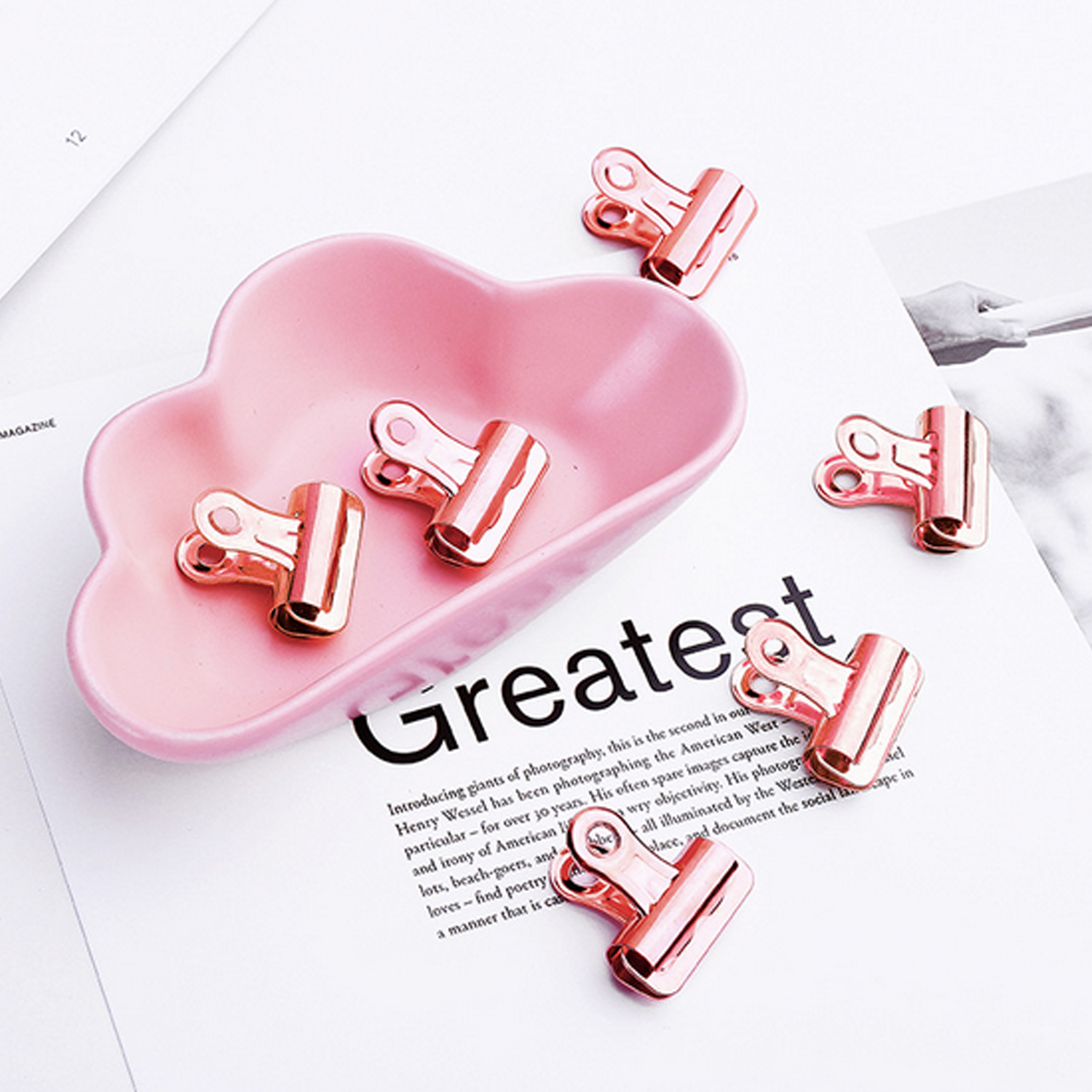 15PCS 25mm Metal Hinge Bulldog Clips With Push Pins For Bulletin Cork Boards Walls Photos Maps Drawings Papers Rose Gold