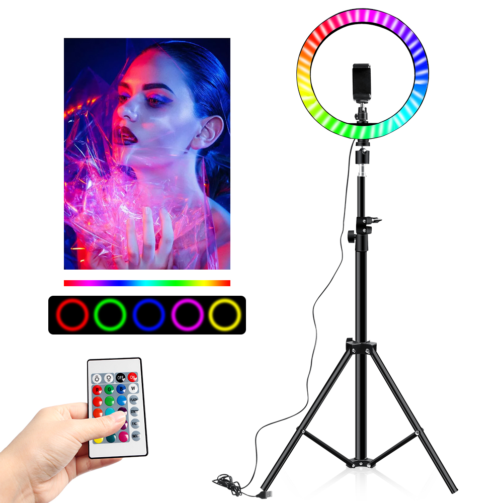RGB Colorful LED Ring Light 10 Inch 160CM Stand Rainbow Ringlight USB With Phone Stand 16 Light Colors For Live Broadcast Photo