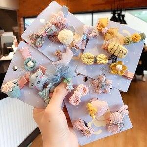 5Pcs/Set Cute Cartoon Baby Girl Hair Clips Lace Star Bows Kids Hairpin Flower Children Barrettes Hair Accessories Haarbandjes