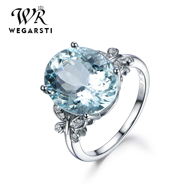 WEGARASTI Silver 925 Jewelry Ring Aquamarine Trendy Party 925 Sterling Silver Rings Jewelry Woman Wedding Party Gift