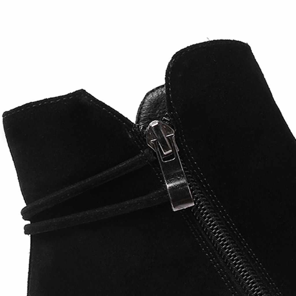 Çizmeler kadın kış ayakkabı kadın yüksek topuk fermuar yarım çizmeler öğrenci rahat büyük boy fırçalayın tek Boots zapatos de mujer 35 -43