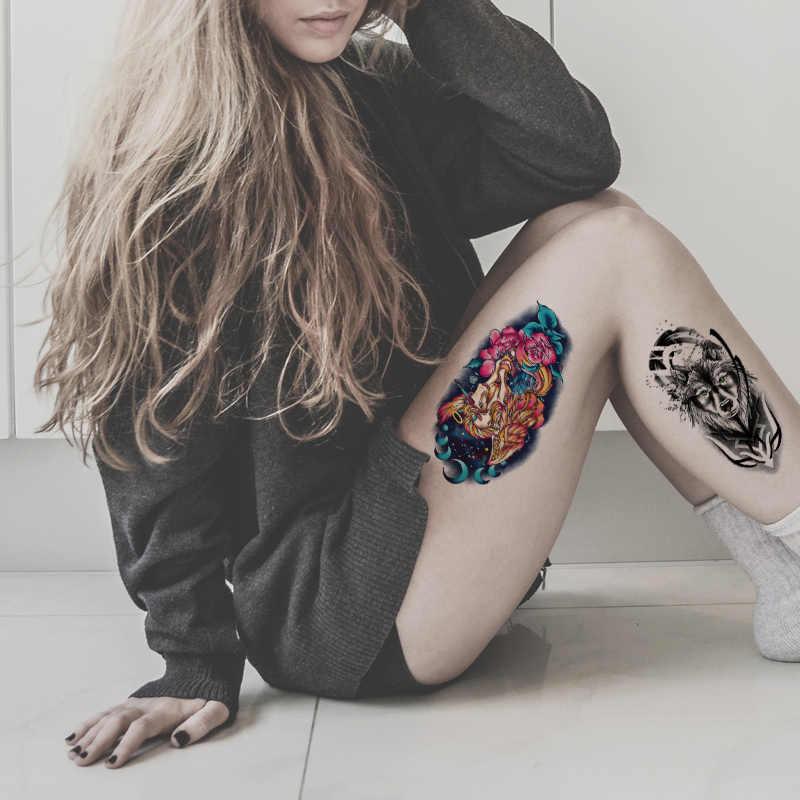 Ferocidade Animal Do Projeto Do Tatuagem Raposa Lobo Tigre Dragão Elefante para a Mulher do Homem Aranha Manga Braço de Volta Da Cintura Etiqueta Do Tatuagem Temporária