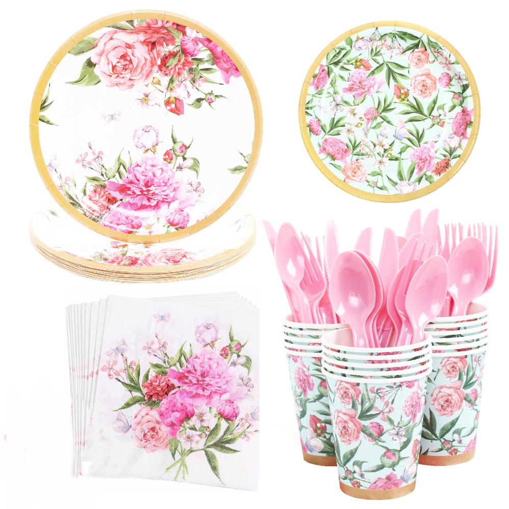 High Quality Hawaiian Garden Party Disposable Tableware Flower Plate Paper Cup Napkin Summer Birthday Wedding Party Supplies