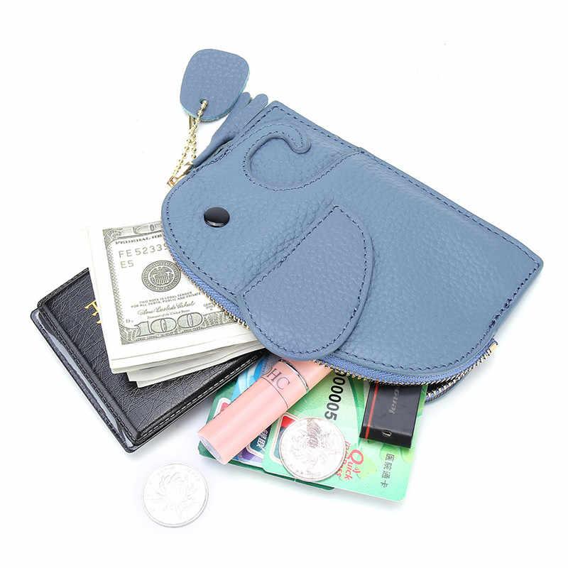 OKKID محفظة صغيرة فتاة محفظة جلدية حقيقية الاطفال محفظة الأطفال لطيف الفيل محفظة للعملات المعدنية الهدايا للفتيات حقيبة صغيرة المال