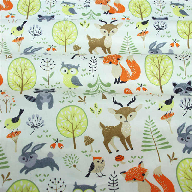 Fox nadruk jelenia 100% bawełna tkanina do wyrobu sukienki poduszki koc do szycia dziecko dziecko prześcieradło tekstylne