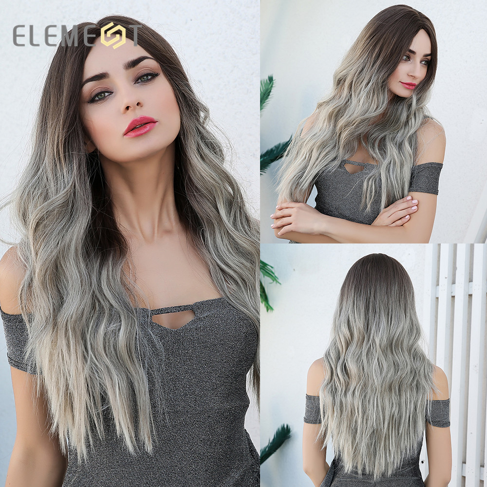 Element Center Part Synthetic Dark Root Light Brown Ombre Grey Long Wavy Hair Wigs  Cosplay Costume Wig For White Black Women