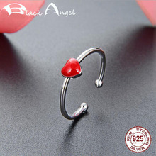 925 Sterling Silver Red Love Heart Open Ring for Women 925 Silver Fine Jewelry Fashion CZ Adjustable Finger Rings shipei created moissanite heart ring for women fine jewelry 100% 925 sterling silver love heart ring anniversary valentines gift