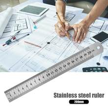 1pc Stainless Steel Metal Straight Ruler Precision Double Sided Measuring Tool 15cm/20cm/30cm/50cm Precision Measuring Rulers(China)