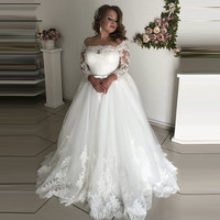 Vestido De Noiva Lace Long Sleeves Off Shoulder Wedding Dress Plus Size Off the Shoulder Wedding Gowns 2020 robe de mariee