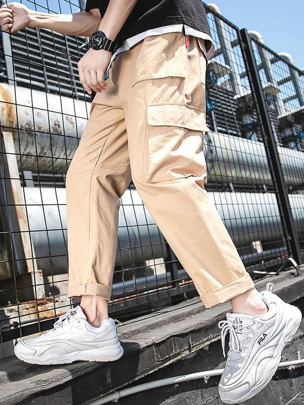 Pants Men's Summer Thin Section Gymnastic Pants MEN'S Casual Pants Korean-style Trend Bib Overall Loose Straight Capri Pants