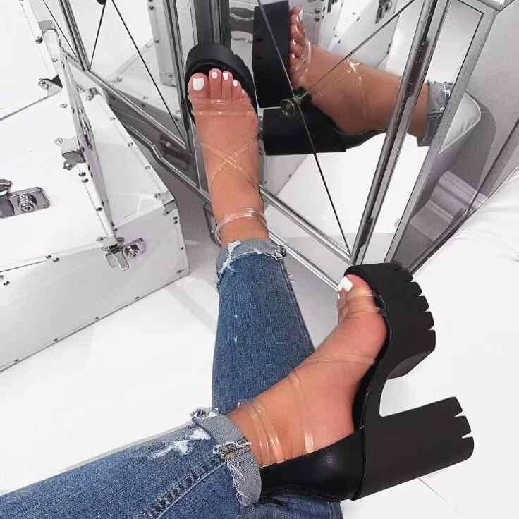 Giày Xăng Đan Nữ Plus Size 35-41 Nhựa PVC Trong Suốt Giày Cao Gót Giày Người Phụ Nữ Ngôi Sao Phong Cách Dây Đeo Mắt Cá Chân Võ Sĩ Giác Đấu Giày Sandal Nữ giày