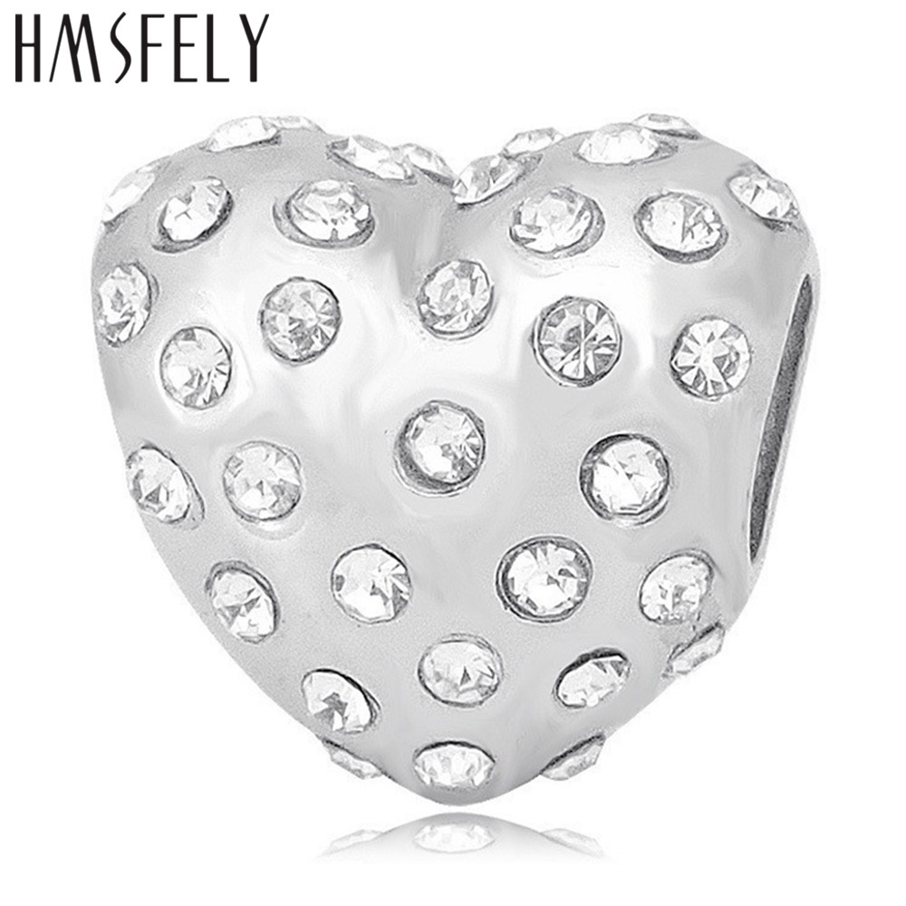 HMSFELY Titanium Steel White Pink Blue Crystal Heart Charm Beads For DIY Bracelet Necklace Jewelry making Accessories Beads in Beads from Jewelry Accessories