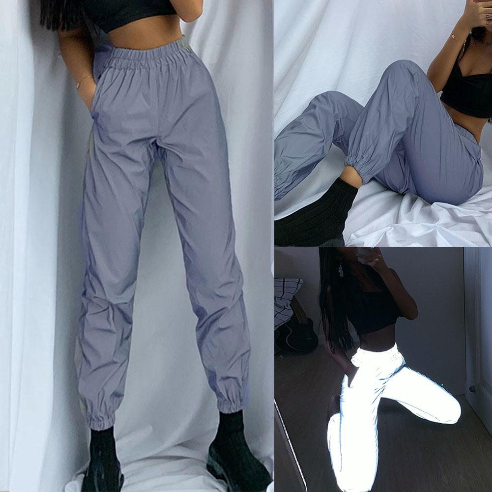 Women High Waist Baggy Reflective Long Pants Elastic Waist Ankle Tie Trousers Fashion Trend