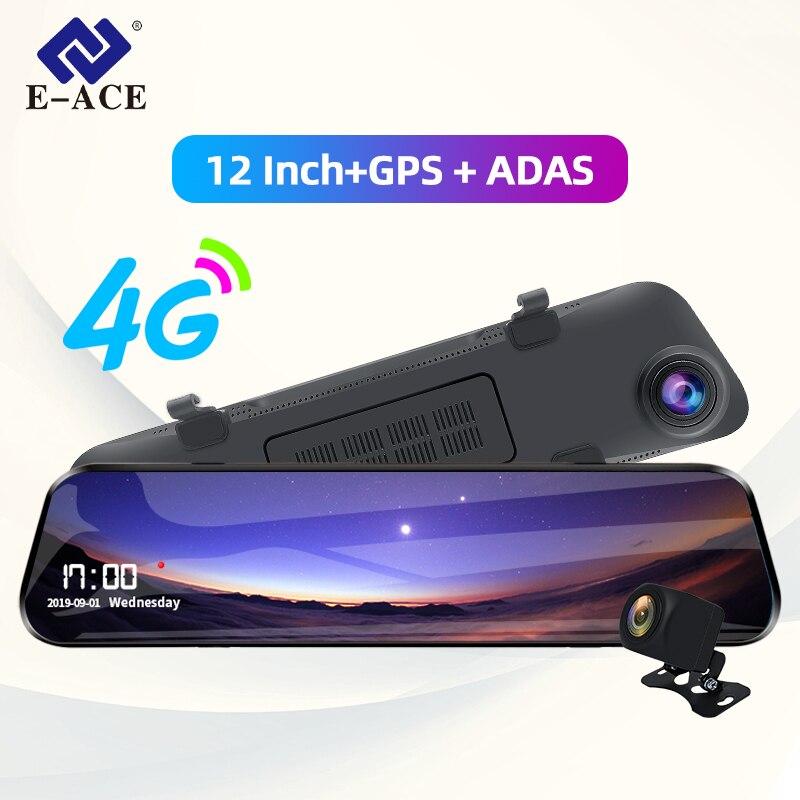 E-ACE Auto Dvr 12 Zoll Streaming Rückspiegel 4G Android GPS Navigation Dash Cam FHD 1080P Auto registrar Video Recorder