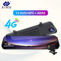E ACE Car Dvr 12 Inch Streaming Rear View Mirror 4G Android GPS Navigation Dash Cam FHD 1080P Auto Registrar Video Recorder