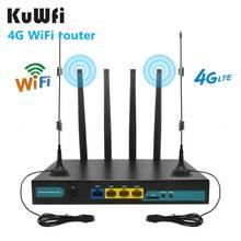 Kuwfi 4g lte wifi roteador 3g/4g sim cartão roteador cat4 150mbps cpe sem fio industrial 32 usuários wi-fi rj45 externos 4pcs antenas