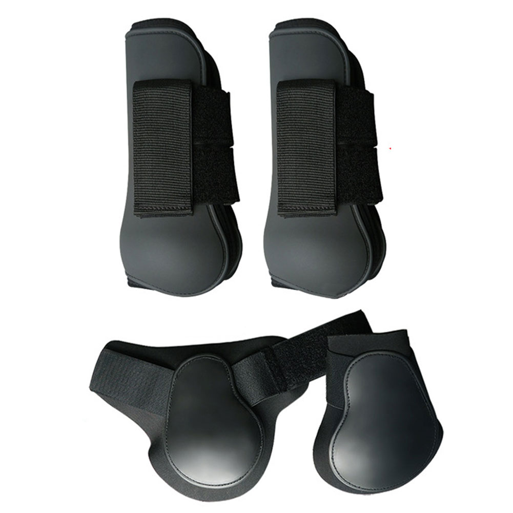 4pcs Front Hind Sports PU Shell Running Anti Scratching Riding Outdoor Training Jumping Adjustable Band Horse Leg Boots