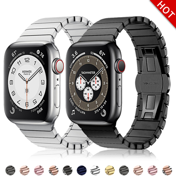 new stainless steel 7 points watch band for apple watch 38mm 42mm iwatch strap black silver rose gold butterfly clasp bracelet Stainless Steel strap for Apple Watch 6Se5 band 44mm 40mm iWatch band 42mm/38mm Butterfly buckle Metal Bracelet Smart watch 4321