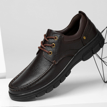 Fashion Oxford Business Men Shoes Genuine Leather High Quality Soft Casual Breathable lace up Men #8217 s Flats Shoes big size 48 cheap WOSHI Cow Leather Rubber 3661257 Lace-Up Solid Fits true to size take your normal size Sheepskin Basic Spring Autumn