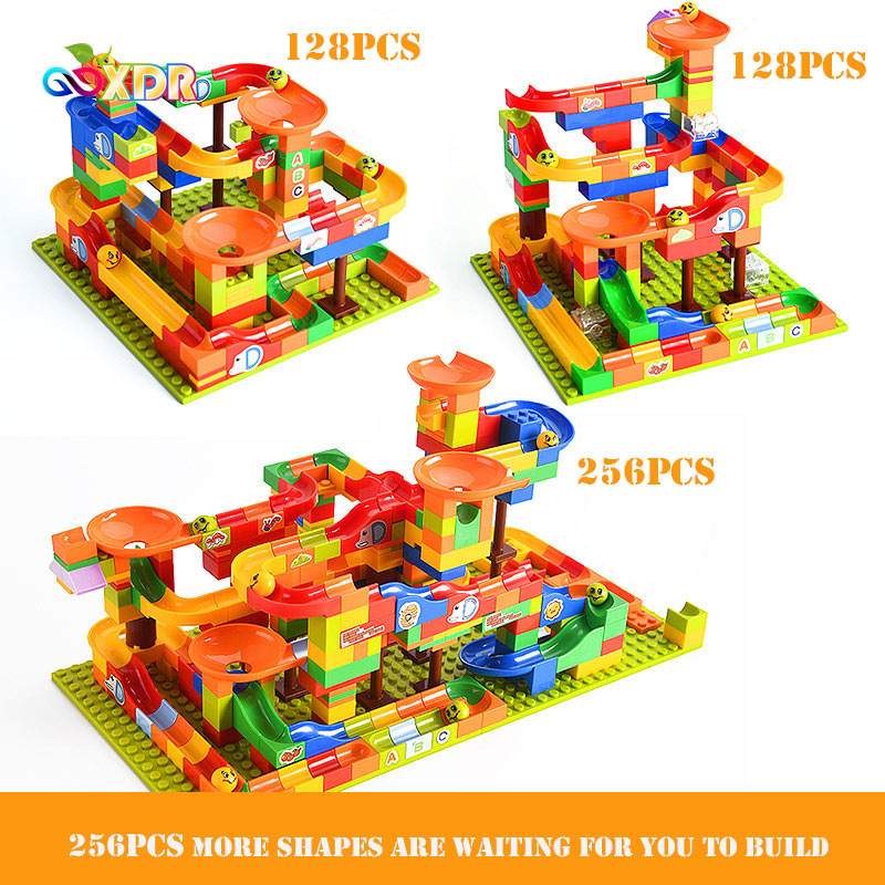 Building Block Toys Tor Children Ball Slide DIY Light Watch Puzzle Spell Insert Assembly Small Particle Building Block Boy Girl