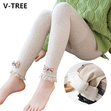 Girls Leggings Trousers Bow-Pants Winter Cute Lace Velvet Warm And Autumn Outwear Thicken
