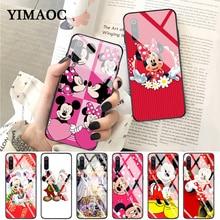 YIMAOC New Year Mickey Minnie Glass Case for Xiaomi Redmi 4X 6A note 5 6 7 Pro Mi 8 9 Lite A1 A2 F1