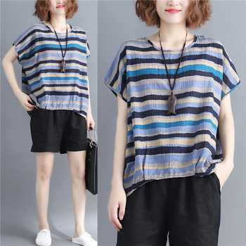 Women Summer New Fashion Brand Stripe Japan Style Vintage Cotton Linen Large Casual Tee Classical Pullover Loose T-shirts