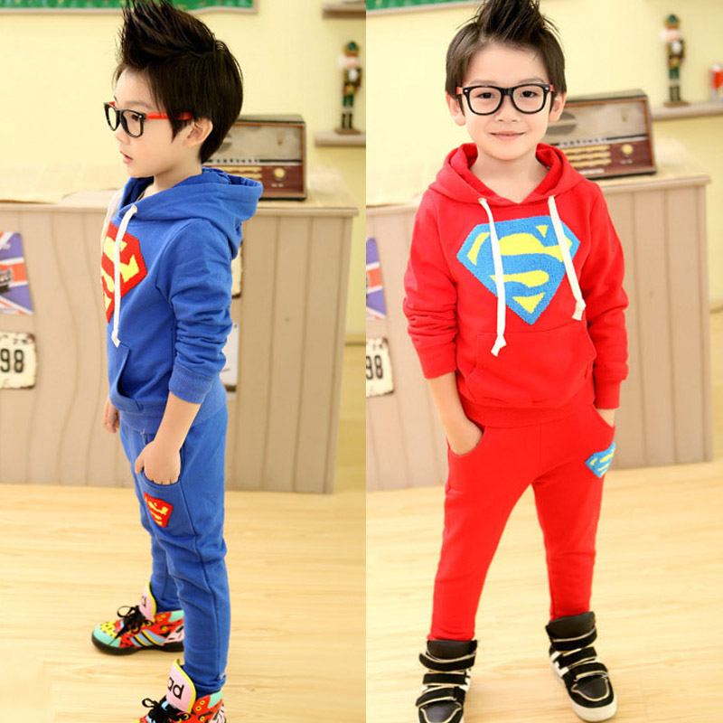 Kids Boys Clothing Set Sports Long Sleeve Superman Hoodies + Pants 2020 Spring Sets Baby Boys Casual Wear Clothes Hoody Tops