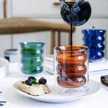 Vaso espiral doble resistente a altas temperaturas, taza de café de Color, té de la leche, taza creativa de zumo, taza de leche para desayuno, taza de bebida